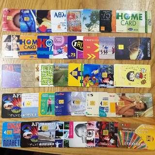 1990~2000年代世界各國電話卡/充值卡/SIM卡40張 廣告明星動物體育珍藏F
