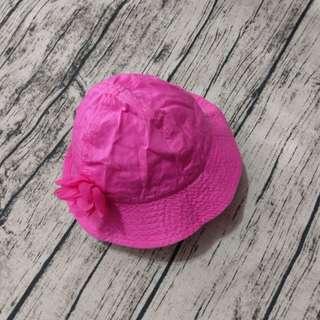 🚚 嬰幼兒。防曬帽。素色。桃紅。