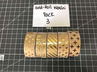 Gold foil washi tapes
