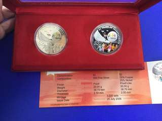 Singapore 2006 National Day Silver Proof & Nickel $2 Coin