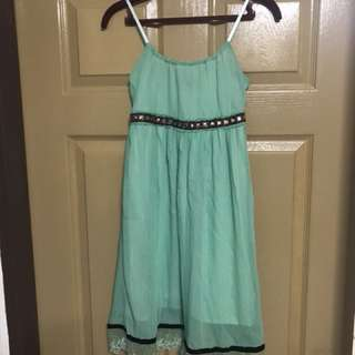 Turquoise bohemian dress with adjustable shoulder straps