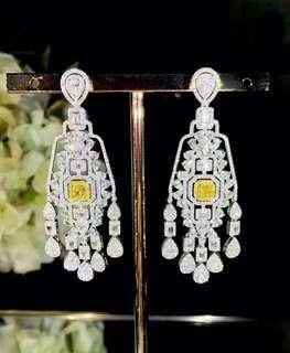 18K白金 黃鑽鑽石耳環