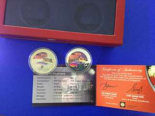 Singapore 2007 National Day silver proof & Nickel $2 coin