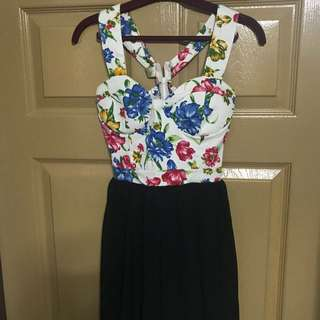White floral bustier dress