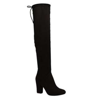 Black Suede Over the Knee Boots - size 7.5