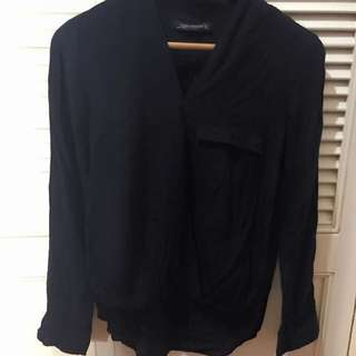 Zara Black Overlap Top