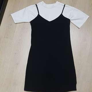 2 piece set - crop top and black dress