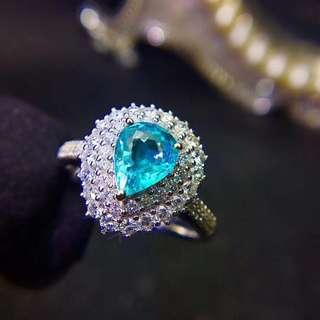 18K白金 帕拉依巴鑽石戒指