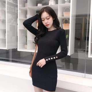 (Black) Clip-up-L.Sleeve Knit Bodycon Dress