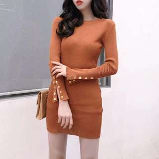 (Brown) Clip-up-L.Sleeve Knit Bodycon Dress