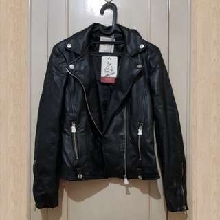 Pull & bear leather jacket black size M