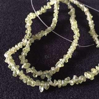 Olive green irregular natural beads