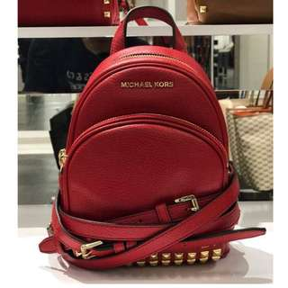 Michael Kors Mini Abbey Studded Backpack in Leather (RED)