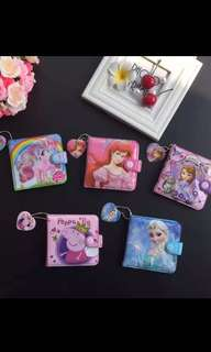PO kids wallet frozen/princess /Sofia & Peppa pig brand new