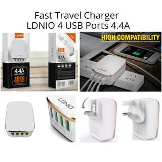 Fast Travel Charger LDNIO 4 USB Ports 4.4A For iphone 8/7/6/5 iphone X Samsung LG Tablets