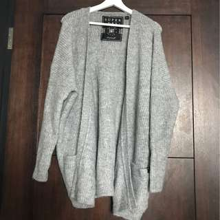 Super Dry-Grey Knitted Cardigan