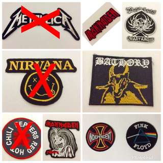Patches various bands iron maiden nirvana motorhead bathory metallica floyd red hot chilli peppers new for sale