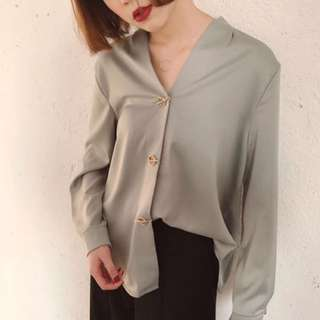 V-neck Satin O.L Blouse Top