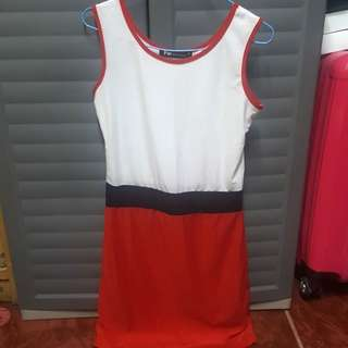 Red and white dress repriced
