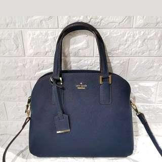✔FREE SHIP Kate Spade Bag Saffiano Dome Satchel Handbag Sling Crossbody -Navy Blue