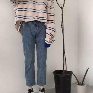 韓版高腰百搭寬鬆毛邊割破直筒九分褲