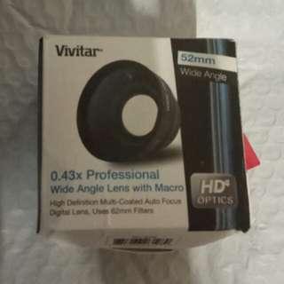 Vivitar 0.43x wide angle lens converter + macro 52mm
