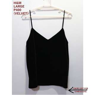 H&M Black Velvet Spaghetti Top