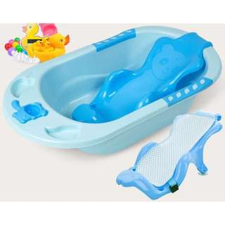 BLUE BABY BATHTUB W BACK REST PROTECTION