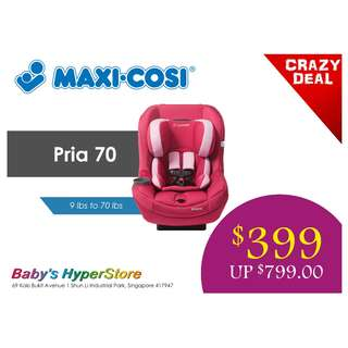 [CLEARANCE SALE] Maxi Cosi Pria 70 convertible car seat - FREE car seat mat worth $59.90