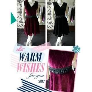 Velvet party dress with belt