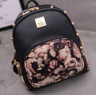 Floral Leather Studded Small Backpack