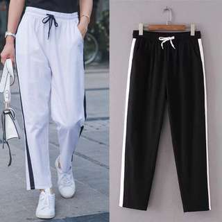 (XL~4XL) 2018 summer new elastic waist white side sweatpants elastic tie casual pants
