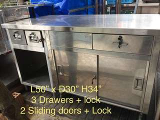 Stainless Steel cabinet counter with drawers n locks