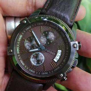 Jam Guess Steel Chronograph, Chocolate Brown ORI