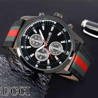 Jam Sport Gucci Type Analog Bahan Tali Kanvas + Kotak D = 4,5 cm Ket = Crono Hanya Variasi Saja  Ready 2 Warna