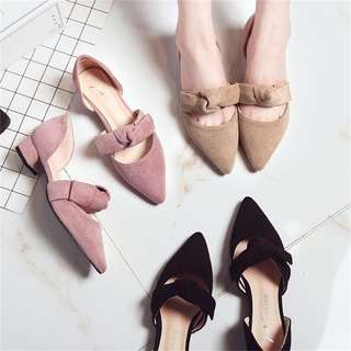 Ribbon Bow Knot Korean Style Low Suede Pointed Low Heels