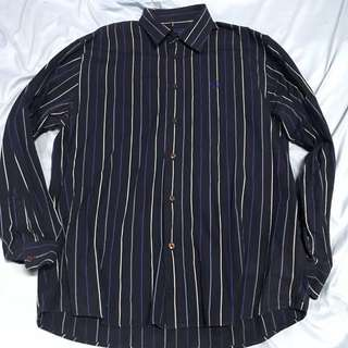 Fred Perry Blue Striped Long Sleeve Shirt (L)