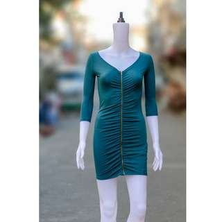 SHANA Front Zipper Split Bodycon Stretch Dress