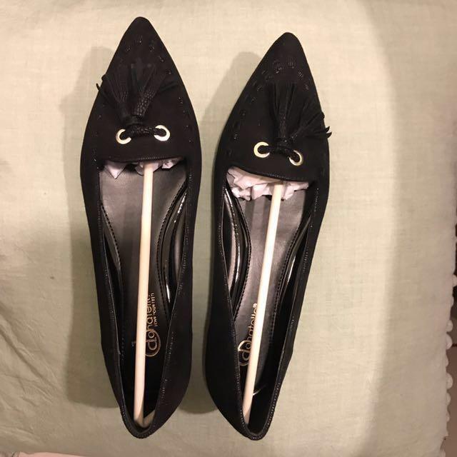 黑色流蘇麂皮布面尖頭鞋35號~免運費