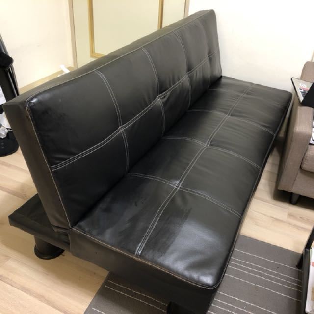 高級皮3人座沙發床