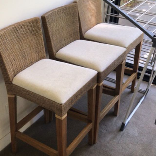 3 Pantry or kitchen chairs with walnut legs and rattan backing