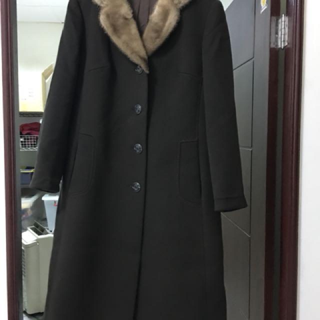 高級毛料貂毛領大衣外套