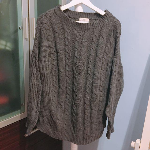 韓國設計基本款鐵灰色針織羅紋毛衣