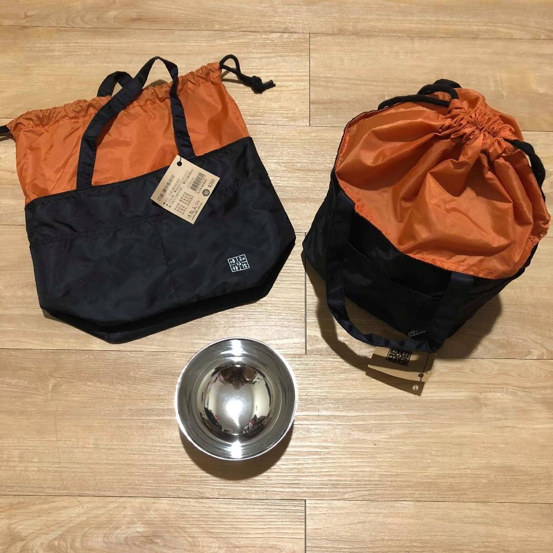 隨身餐提袋+不銹鋼碗+250ml水杯+不銹鋼湯匙 全新吊牌未拆