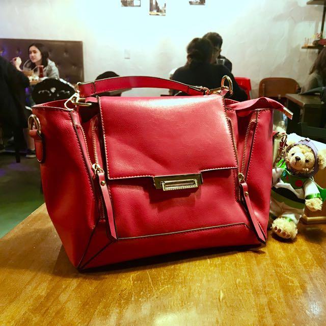韓製 桃紅亮皮手提包