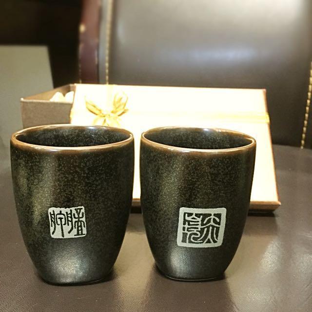 臺華窯 無光黑釉書法印章陶瓷對杯禮盒