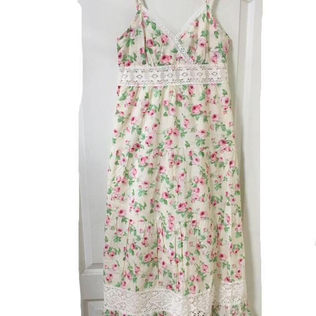 日本品牌 森林系 玫瑰花長洋裝