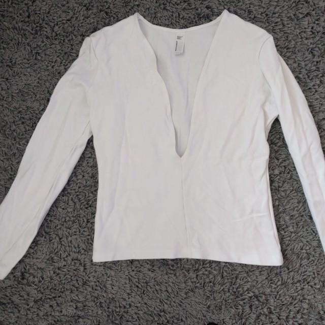 American apparel white low cut top