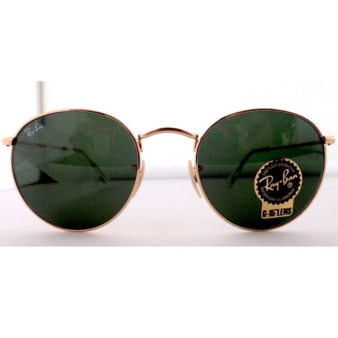 Authentic Ray-Ban Round Metal Sunglasses - RB3447 G-15 Lens