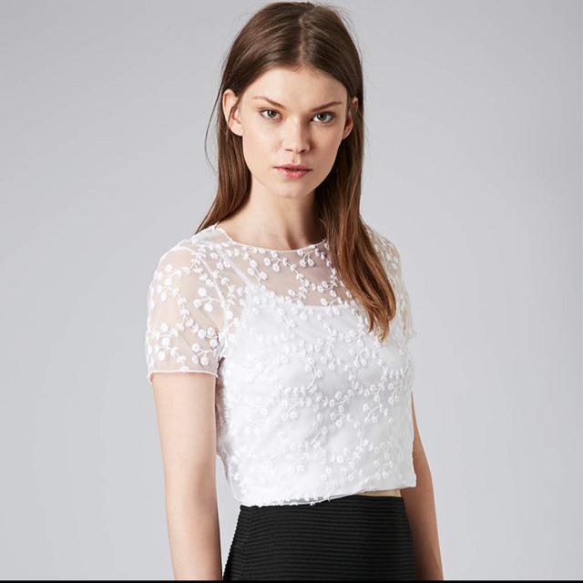 43fbfbabc5 Authentic Topshop Floral Organza Embroidery Mesh Top